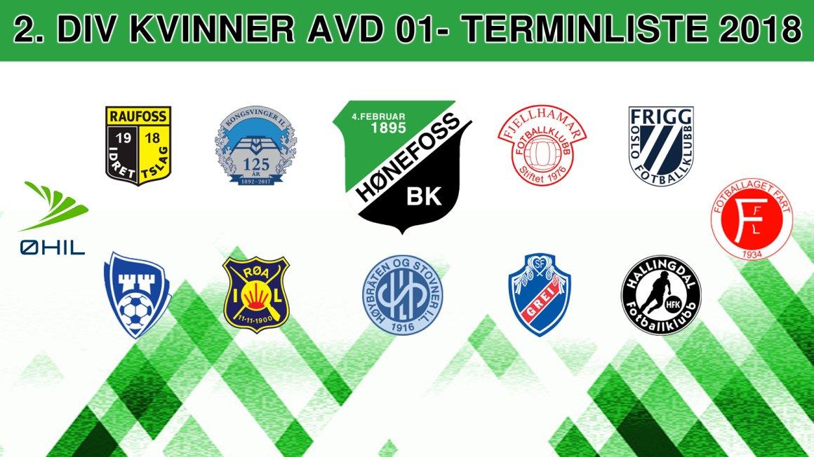 2. div Kvinner avd 01 - Terminliste 2018